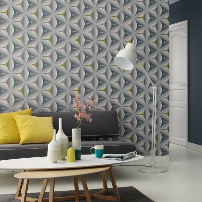 A.S. Creation AS Creation Abstract Star Leaf Pattern Embossed Non Woven 3D Effect Wallpaper 960422