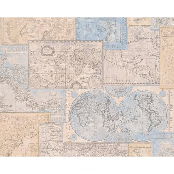 A.S. Creation AS Creation Atlas Mosaic Pattern Vintage Map Motif Textured Vinyl Wallpaper 664310