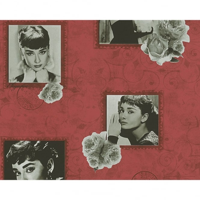 A.S. Creation AS Creation Audrey Hepburn Photograph Rose Motif Metallic Textured Wallpaper 958901