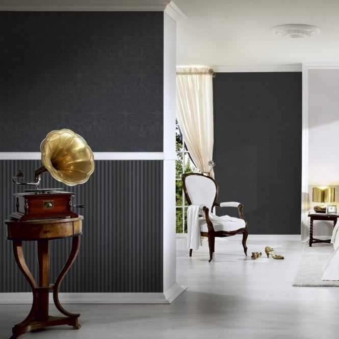A.S. Creation AS Creation Black Striped Pattern Wallpaper Modern Embossed Non Woven 303975