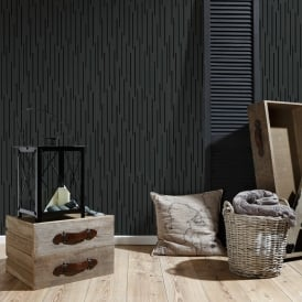 AS Creation Black Striped Pattern Wallpaper Modern Metallic Embossed 302264