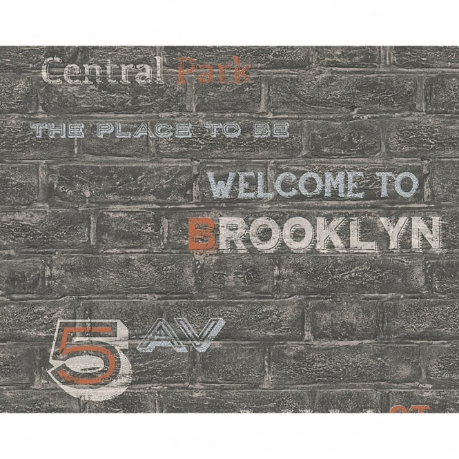 A.S. Creation AS Creation Brick Wall Pattern Brooklyn Silver Typography Wallpaper 959091