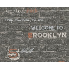 AS Creation Brick Wall Pattern Brooklyn Silver Typography Wallpaper 959091