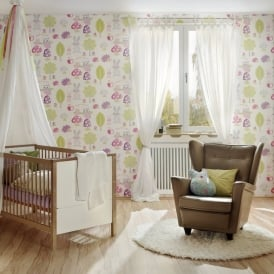 AS Creation Childrens Wallpaper Hedgehogs Rabbits Owl Forest Pattern 935551