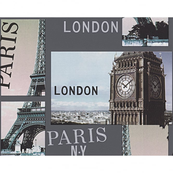 A.S. Creation AS Creation City Photo Pattern London Paris New York Embossed Wallpaper 958501