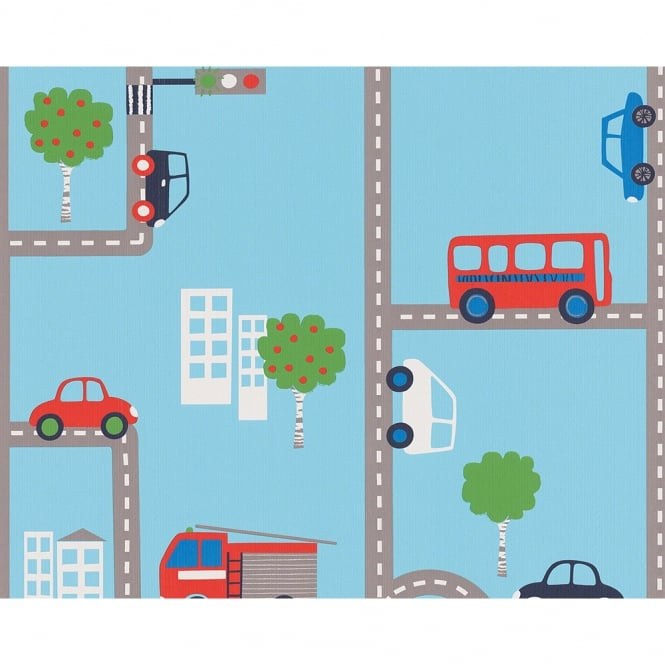 A.S. Creation AS Creation City Road Traffic Pattern Fire Engine Cars Childrens Wallpaper 936321