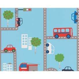 AS Creation City Road Traffic Pattern Fire Engine Cars Childrens Wallpaper 936321
