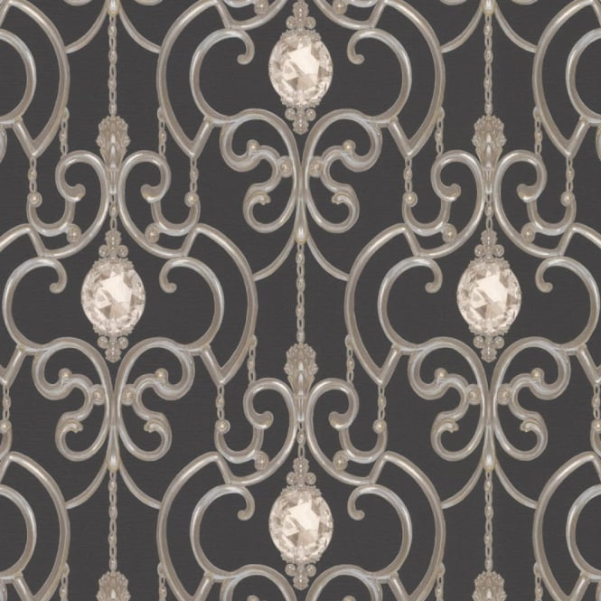 A.S. Creation AS Creation Crystal Gem Stone Pattern Wallpaper Ornate Textured Metallic 891235