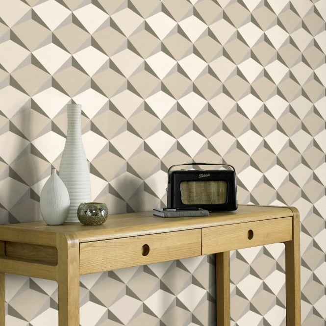 A.S. Creation AS Creation Diamond Pattern 3D Effect Abstract Textured Non Woven Wallpaper 960312