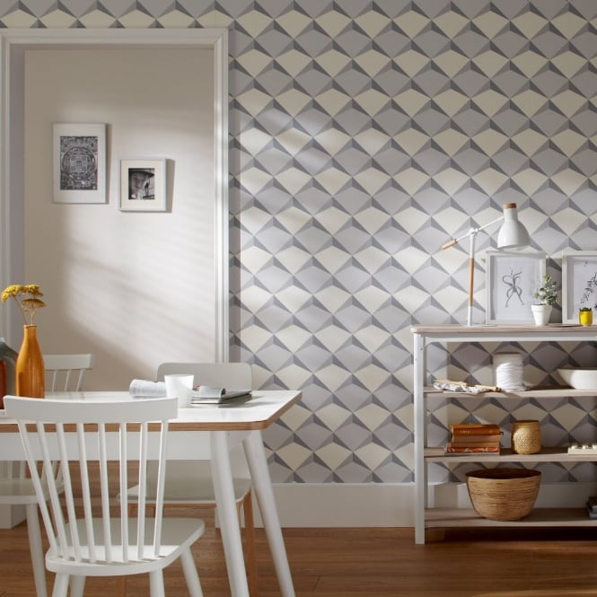 A.S. Creation AS Creation Diamond Pattern 3D Effect Abstract Textured Non Woven Wallpaper 960313