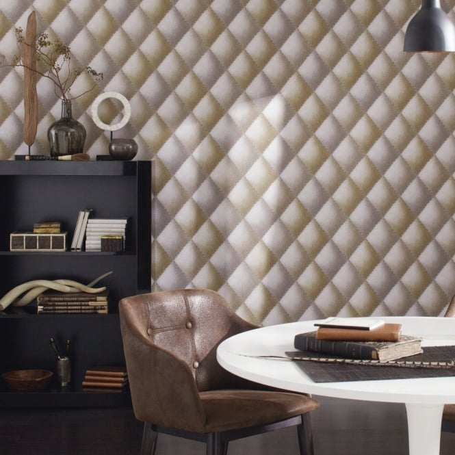 A.S. Creation AS Creation Diamond Pattern Faux Leather Effect Non Woven Textured Wallpaper 960432