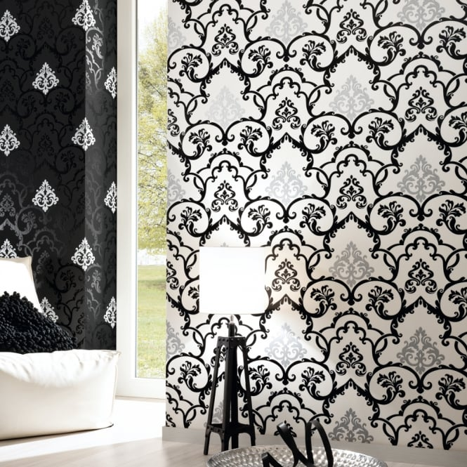 A.S. Creation AS Creation Flock Damask Pattern Wallpaper Embossed Glitter Leaf Motif 955383