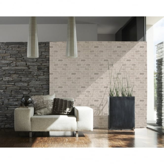 A.S. Creation AS Creation House Brick Pattern Faux Effect Embossed Wallpaper 779830