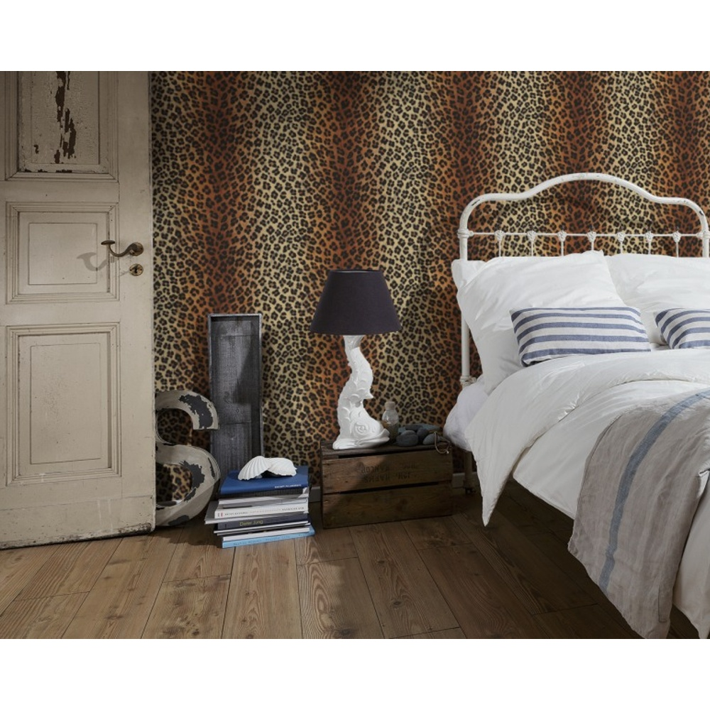 As creation leopard print pattern animal fur vinyl for Fur wallpaper room