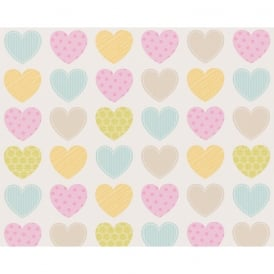 AS Creation Love Heart Pattern Stripe Polka Dot Motif Childrens Wallpaper 935662