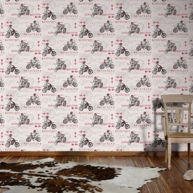 A.S. Creation AS Creation Motor Bike Pattern Motocross Sport Textured Childrens Wallpaper 935505