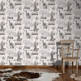 AS Creation New York Newspaper Pattern Retro America Childrens Wallpaper 936251