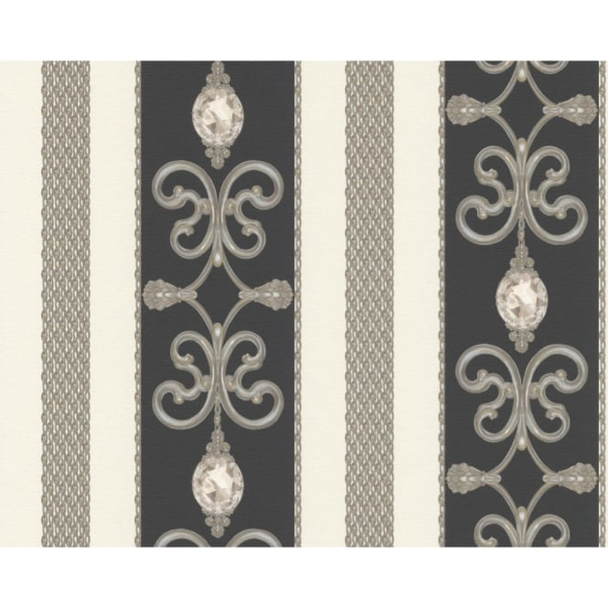 A.S. Creation AS Creation Ornate Damask Pattern Wallpaper Chain Stripe Metallic Crystal 891334
