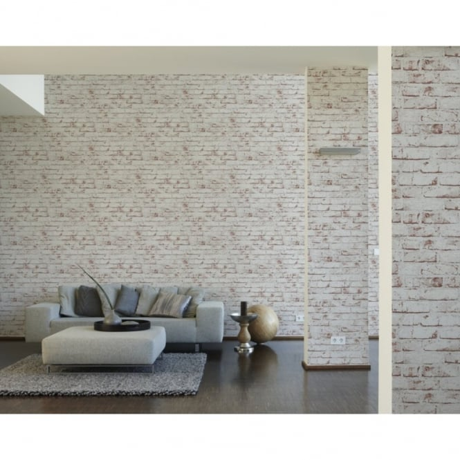 A.S. Creation AS Creation Painted Brick Wall Stone Faux Effect Embossed Mural Wallpaper 907813