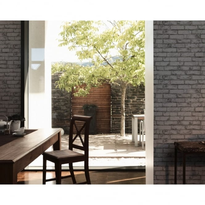 A.S. Creation AS Creation Painted Brick Wall Stone Faux Effect Embossed Mural Wallpaper 907820