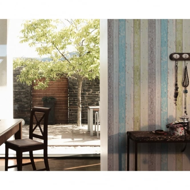A.S. Creation AS Creation Painted Wood Beam Wooden Panel Faux Effect Textured Wallpaper 855077