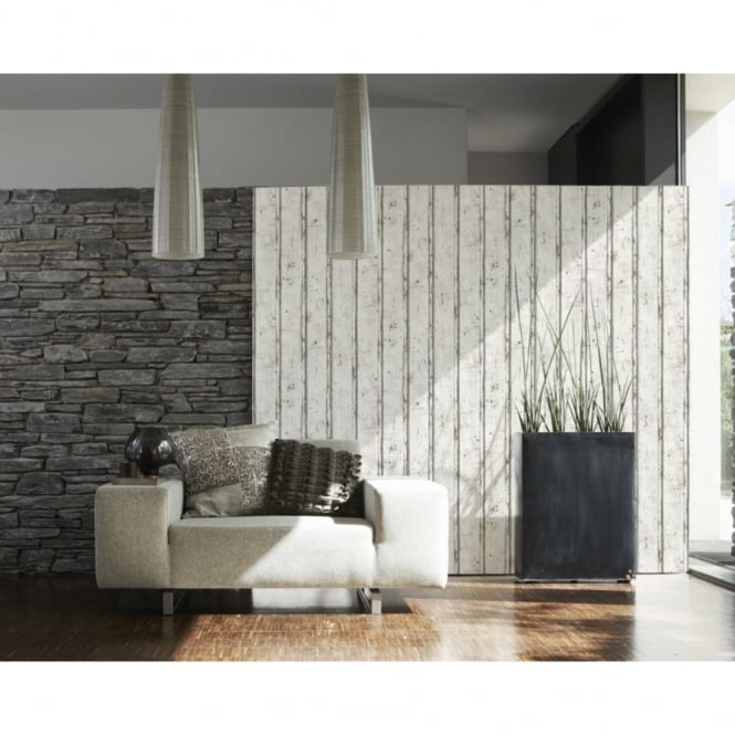 A.S. Creation AS Creation Painted Wood Panel Pattern Realistic Textured Non Woven Wallpaper 953701