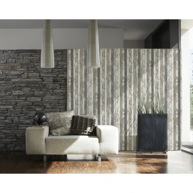A.S. Creation AS Creation Painted Wood Pattern Faux Effect Textured Non Woven Wallpaper 959142