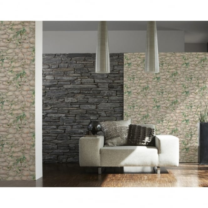 A.S. Creation AS Creation Pebble Stone Pattern Ivy Vine Textured Wallpaper 834416