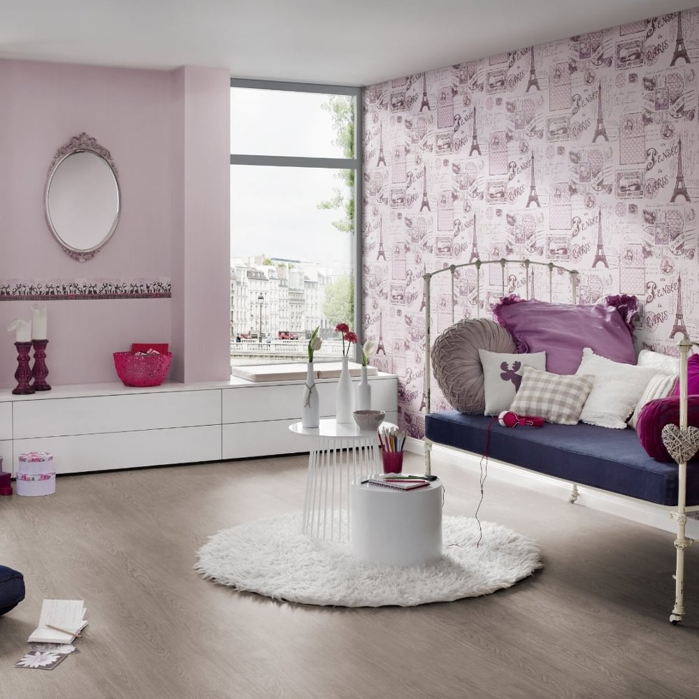 As creation pink paris pattern eiffel tower childrens for Pink and grey bedroom wallpaper