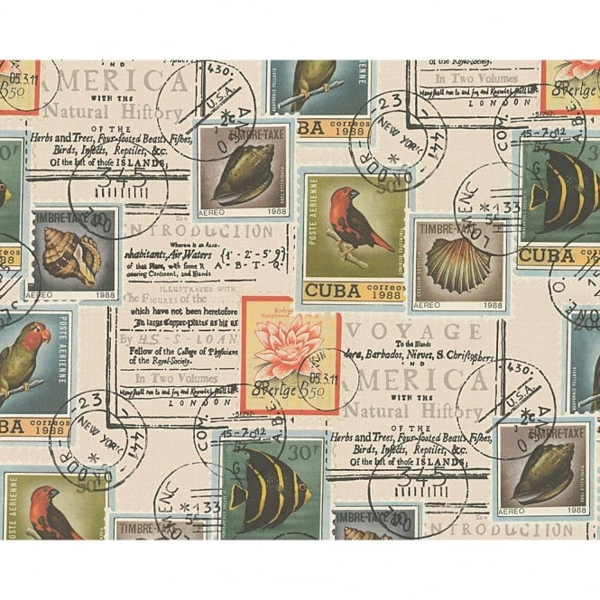 A.S. Creation AS Creation Postage Stamp Pattern Bird Fish Motif Vinyl Wallpaper 958991