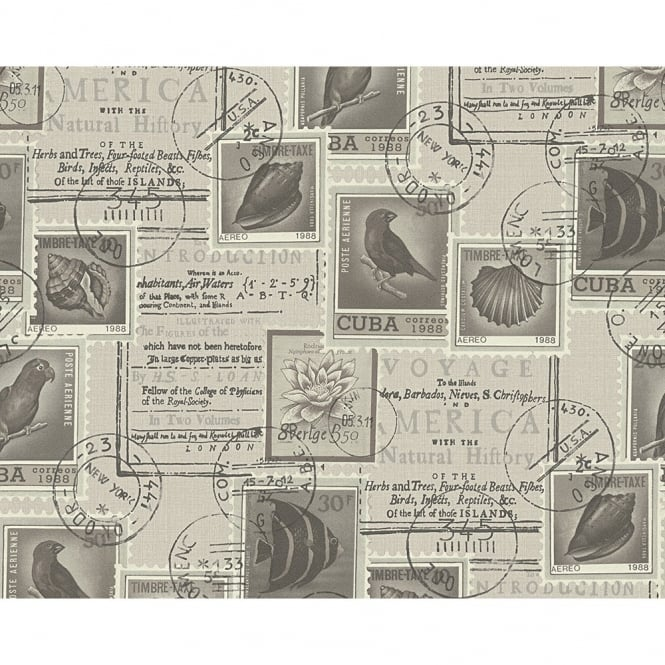 A.S. Creation AS Creation Postage Stamp Pattern Bird Fish Motif Vinyl Wallpaper 958992