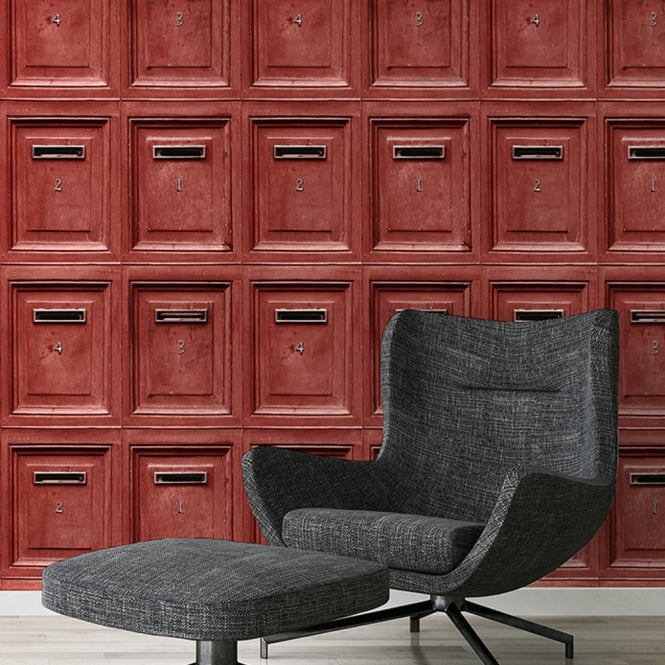 A.S. Creation AS Creation Retro Post Box Pattern Wallpaper Letter Picture Mural Wood Effect 307453