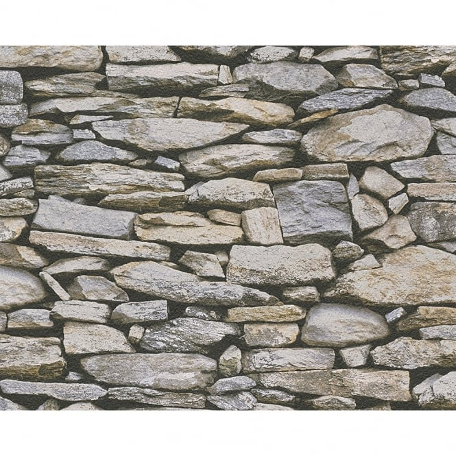 A.S. Creation AS Creation Rustic Slate Stone Wall Pattern Photo Realistic Embossed Vinyl Wallpaper 958202
