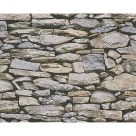 AS Creation Rustic Slate Stone Wall Pattern Photo Realistic Embossed Vinyl Wallpaper 958202
