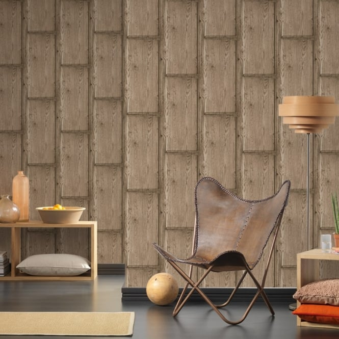 A.S. Creation AS Creation Rustic Wood Panel Pattern Wallpaper Embossed Faux Effect Realistic 307492
