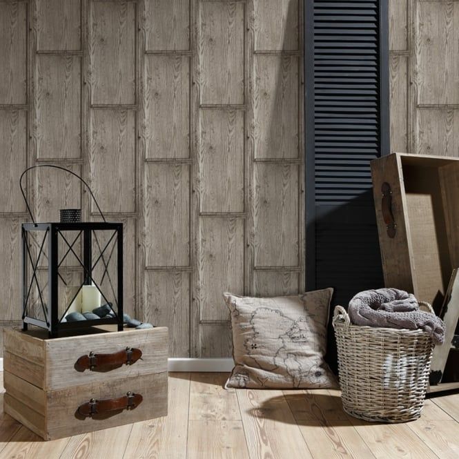 A.S. Creation AS Creation Rustic Wood Panel Pattern Wallpaper Embossed Faux Effect Realistic 307493