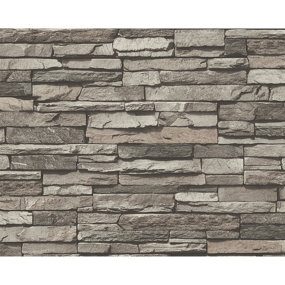 Delightful Brick Style Wallpaper Part - 11: AS Creation Slate Brick Wall Pattern Faux Effect Embossed Vinyl Wallpaper  958331