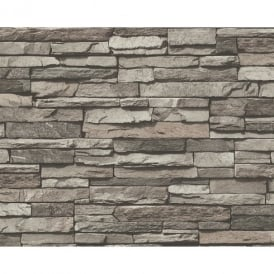 AS Creation Slate Brick Wall Pattern Faux Effect Embossed Vinyl Wallpaper 958331