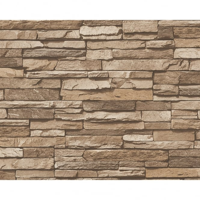 A.S. Creation AS Creation Slate Brick Wall Pattern Faux Effect Embossed Vinyl Wallpaper 958332