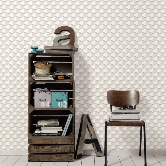 A.S. Creation AS Creation Square Pattern 3D Effect Abstract Textured Non Woven Wallpaper 960183