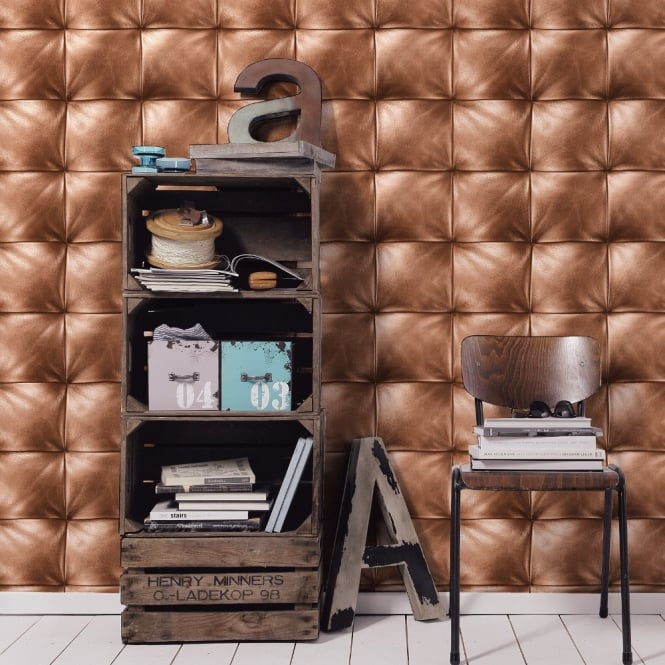 A.S. Creation AS Creation Square Pattern Faux Leather Effect Non Woven Textured Wallpaper 959991