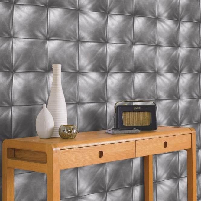 A.S. Creation AS Creation Square Pattern Faux Leather Effect Non Woven Textured Wallpaper 959992
