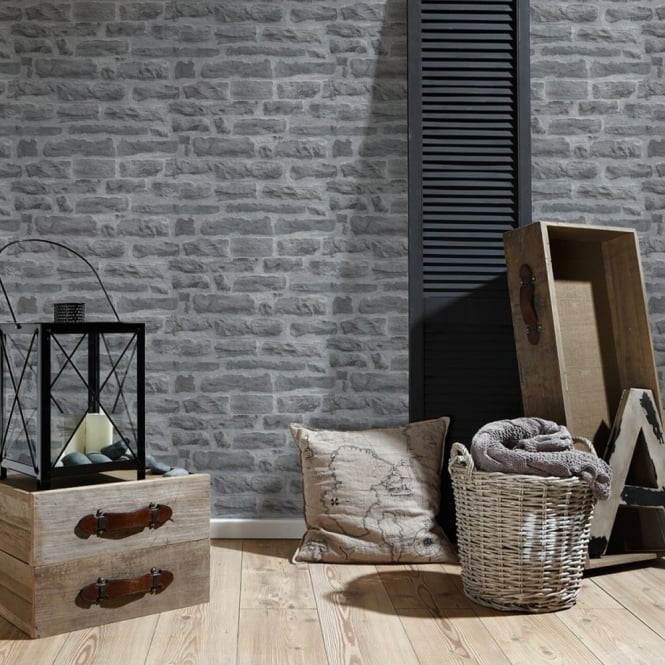 A.S. Creation AS Creation Stone Brick Pattern Wallpaper Realistic Faux Effect Embossed Motif 319442