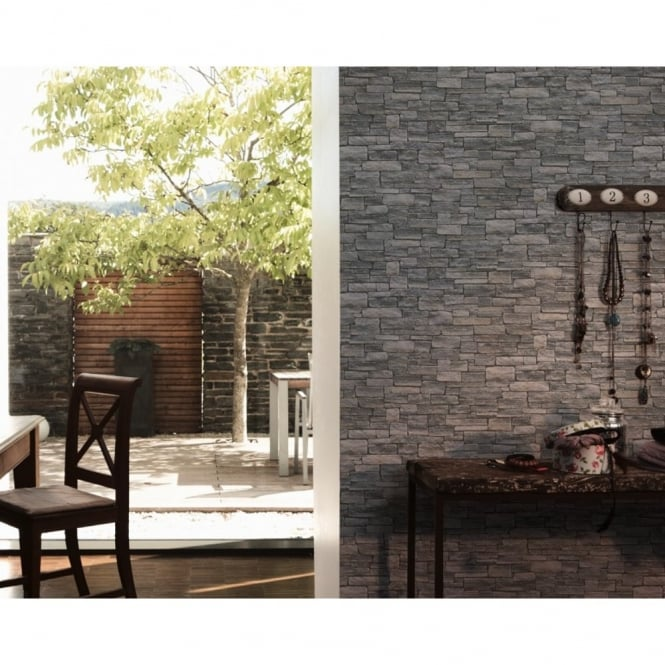 A.S. Creation AS Creation Stone Brick Wall Pattern Faux Effect Embossed Vinyl Wallpaper 958711