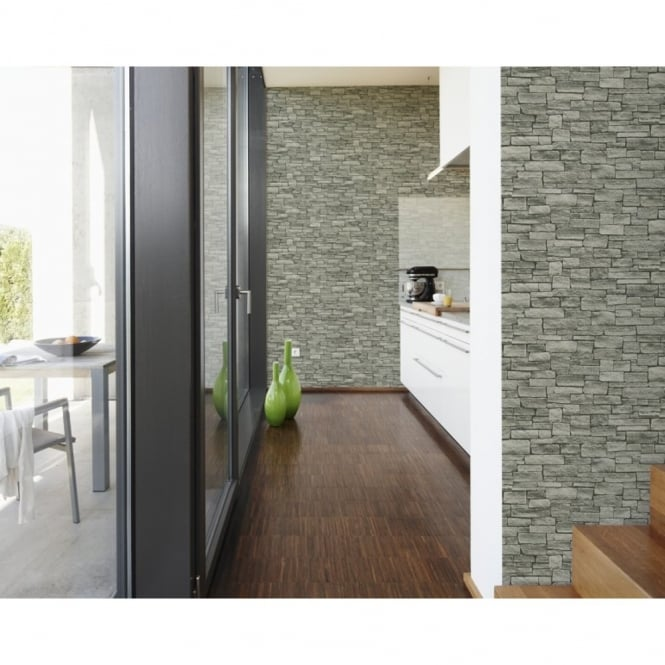 A.S. Creation AS Creation Stone Brick Wall Pattern Faux Effect Embossed Vinyl Wallpaper 958712