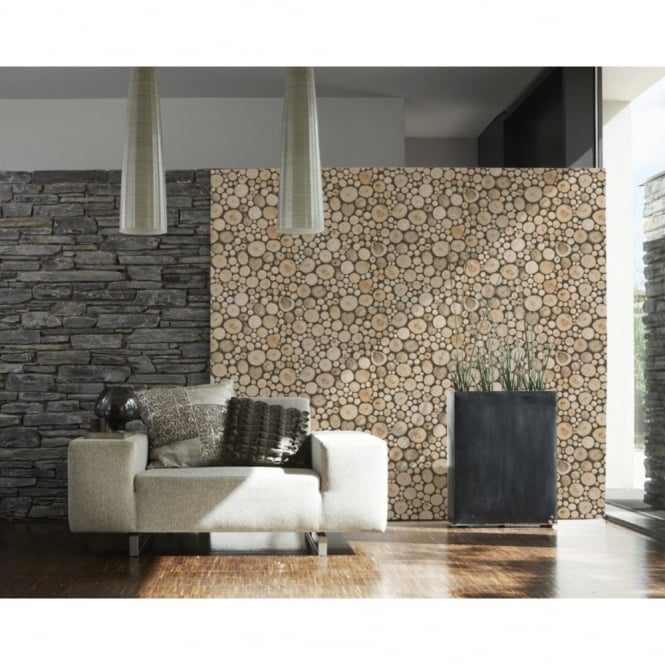 A.S. Creation AS Creation Wood Logs Pattern Cabin Textured Non Woven Wallpaper 958361