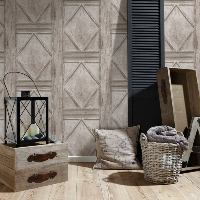 A.S. Creation AS Creation Wood Panel Pattern Wallpaper Garden Faux Effect Realistic Embossed 307523