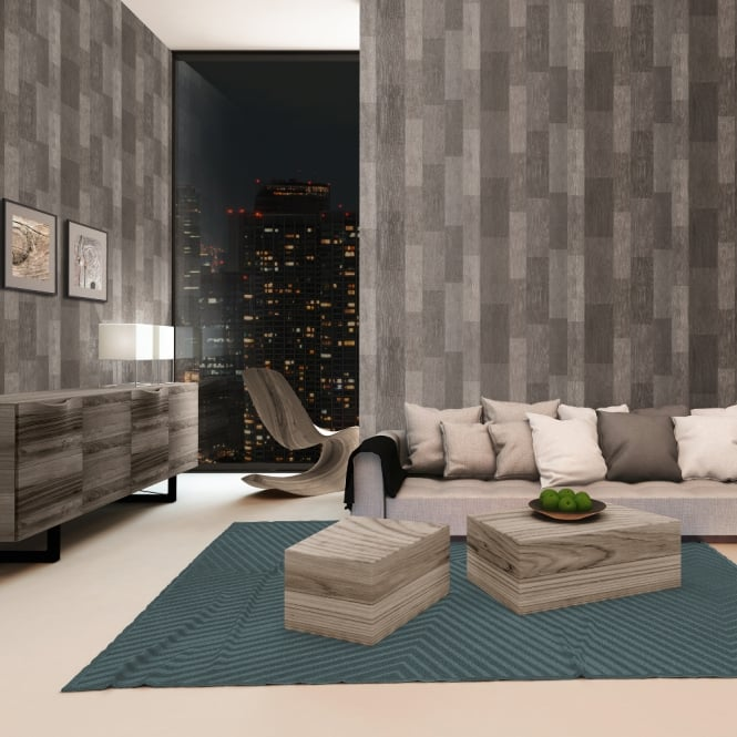 A.S. Creation AS Creation Wood Panel Pattern Wallpaper Realistic Faux Effect Metallic Motif 306431