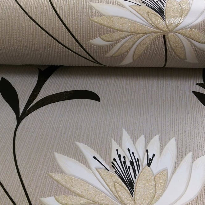 Belgravia Flower Pattern Floral Leaf Glitter Motif Embossed Wallpaper 213