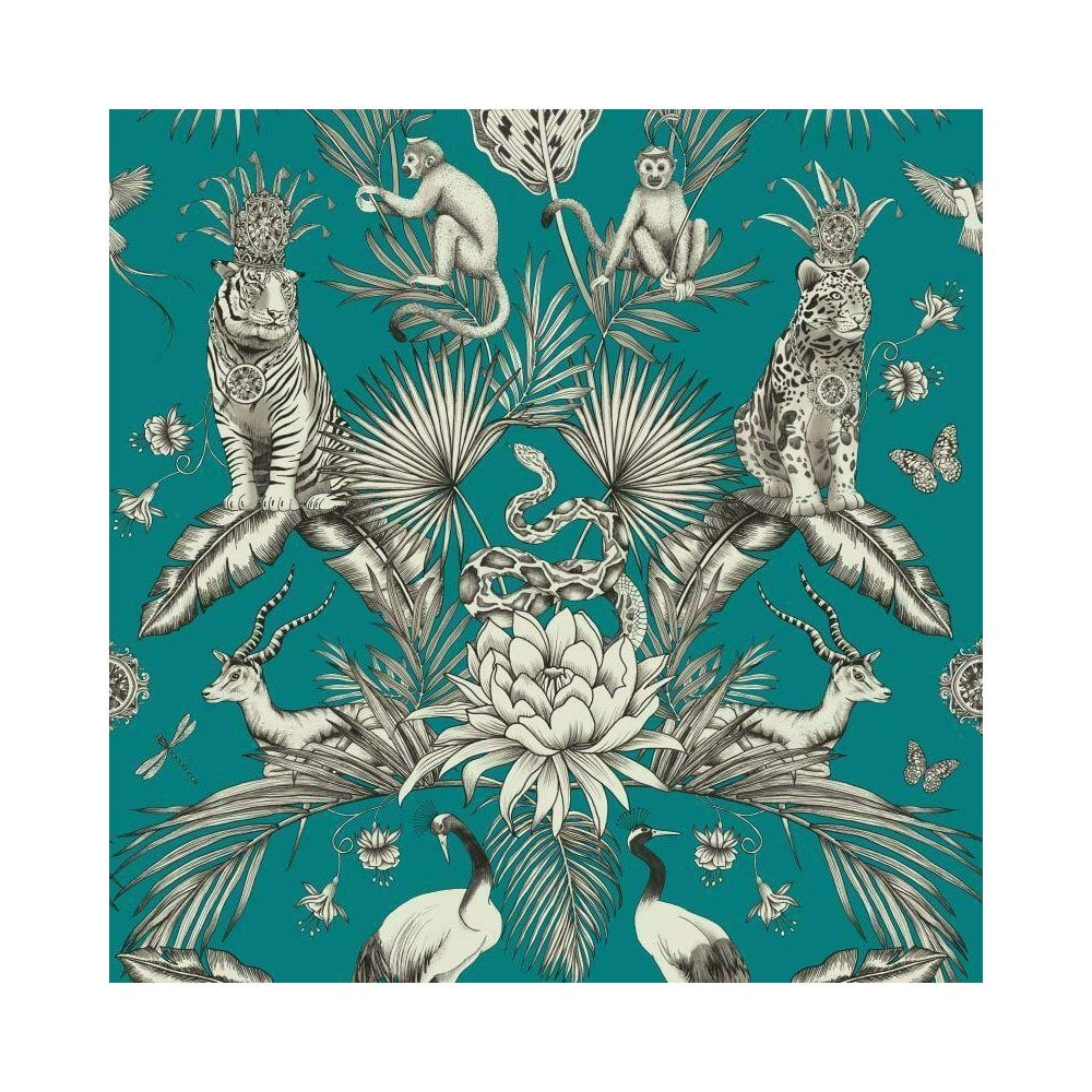Belgravia Menagerie Tropical Plants Exotic Animal Print